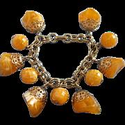 Vintage Tangerine Swirl Lucite Charm Bracelet