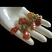 Vintage Amber Colored Stones Charm Bracelet