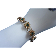 Gold Tone Flower Bracelet with Emerald Green Rhinestones ~ REDUCED!