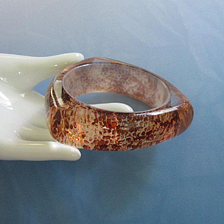 Copper, Brown and Gold in Clear Lucite Bangle Bracelet