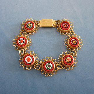 Perky Millefiore and Micro Mosaic Bracelet