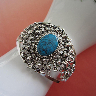 Wide Faux Turquoise, Silver Tone Clamper Bracelet