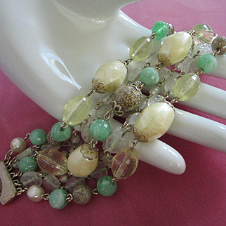 Vintage Beaded 7 Strand Bracelet in Spring Green and Cream