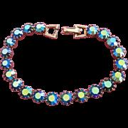 Vintage Blue Green Aurora Borealis Rhinestone Bracelet