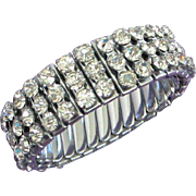 Vintage Clear Rhinestone Expansion Bracelet signed JAPAN