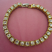 Vintage Clear Rhinestones with Gold Tone Bracelet ~ 1/2 OFF!!