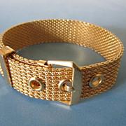Vintage Avon Mesh Buckle Bracelet in Gold Tone ~ REDUCED!