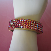 Dazzling Vintage Raspberry AB Rhinestone Clamper Bracelet ~ REDUCED!