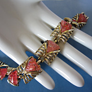 Vintage Coral Pink Confetti Lucite Bracelet ~ REDUCED!!