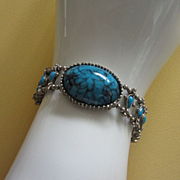 Vintage Faux Turquoise and Silver Tone Bracelet ~ REDUCED!