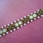 Vintage Mother of Pearl, Butterflies and Faux Pearl Bracelet ~ REDUCED!!