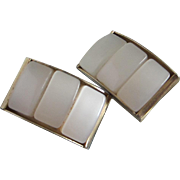Vintage Dove White Moonglow Lucite Earrings ~ REDUCED!