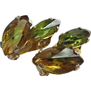 Austria Topaz and Olivine Rhinestone Earrings ~ REDUCED!
