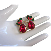 Avon Holiday Holly & Berries Red Rhinestone Earrings, Pierced ~ REDUCED!