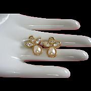 Avon Faux Pearl and Rhinestone Angel Earrings, Pierced ~ REDUCED
