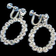 Clear Rhinestone Hoops Dangling Earrings, Sterling