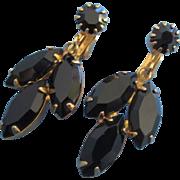 Jet Black Navettes Dangling Earrings