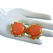 Very Tangerine Moonglow Lucite Earrings ~ REDUCED!
