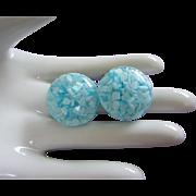 Glacier Blue Confetti Lucite Earrings