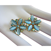 Turquoise Moonglow Glass and AB Rhinestone Flower Earrings