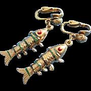 Vintage Hong Kong Articulating Fish Earrings