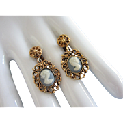 Vintage Cameo Earrings in Antique Gold and Slate Blue