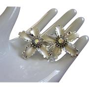 Silver Tone and AB Rhinestone Flower Earrings