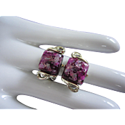 Vintage Purple Confetti Lucite Earrings