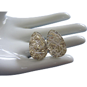 Vintage Silvery-Gold Confetti Lucite Earrings