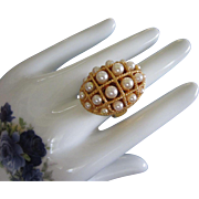 Vintage AVON Faux Pearl Poison or Perfume Ring, Adjustable