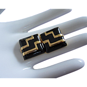 Chic Monet Black Enamel and Gold Tone Earrings