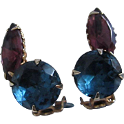 Montana Blue and Amethyst Rhinestone Earrings