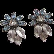 Delicate Krementz Baby Blue Rhinestone Flower Earrings