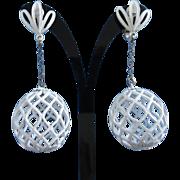 White Enamel Open Weave Dangling Earrings