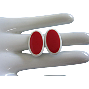 Colorful Vintage NAPIER Red and White Enamel Earrings