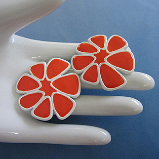 Most Awesome MONET Vivid Orange Enamel Flower Earrings