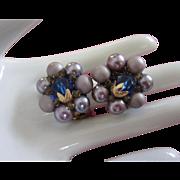 Vintage Japan Lilac and Lavender Beaded Earrings