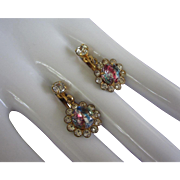 Vintage Art Glass and Rhinestone Earrings