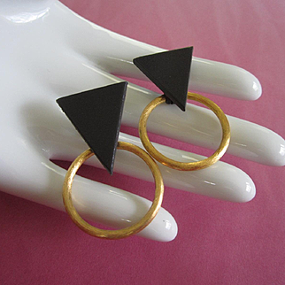 Vintage Black and Gold Tone Geometric Earrings