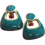 Vintage Teal Enamel and Gold Tone Earrings