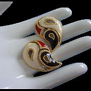 Vintage AVON Cream, Red and Navy Enamel Pierced Earrings