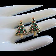 Vintage Enamel Christmas Tree Earrings, Pierced