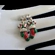 Vintage Christmas Pierced Earrings, Enamel Stockings and Rhinestones