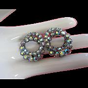 Vintage Blue AB Rhinestone Earrings, Intertwining Rings