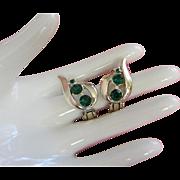 Vintage Emerald Rhinestone and Gold Tone Earrings