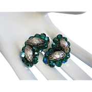 Vintage Blue Green AB Crystals, Molded Bead Earrings