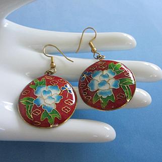 Vintage Floral Cloisonne Pierced Earrings