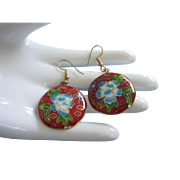 Vintage Floral Cloisonne Pierced Earrings