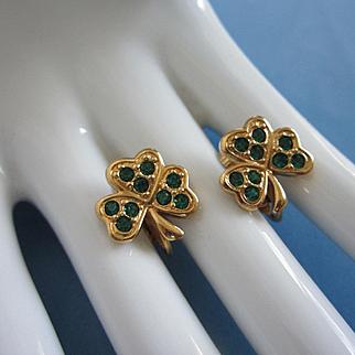 Vintage Avon Shamrock Emerald Rhinestone Earrings