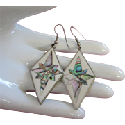 Made in Mexico Abalone Shell Dangling Pierced Earrings